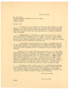 Thumbnail of Letter from W. E. B. Du Bois to Chinese People's Committee for World Peace