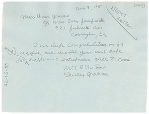 Thumbnail of Night letter from Shirley and W. E. B. Du Bois to Anna Melissa Graves