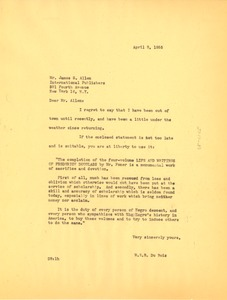 Thumbnail of Letter from W. E. B. Du Bois to International Publishers