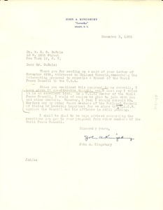 Thumbnail of Letter from John A. Kingsbury to W. E. B. Du Bois