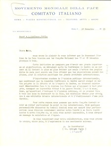 Thumbnail of Circular letter from Movimento Mondiale della Pace to W. E. B. Du Bois