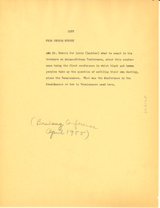 Thumbnail of Letter from George B. Murphy, Jr. to W. E. B. Du Bois