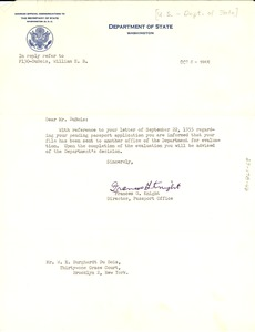 Thumbnail of Letter from United States Passport Division to W. E. B. Du Bois