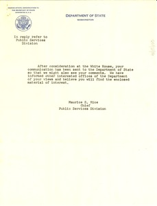 Thumbnail of Form letter from United States Public Services Division to W. E. B. Du Bois