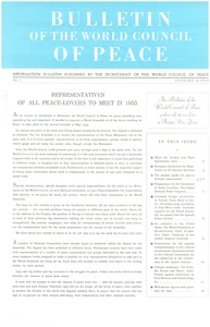 Thumbnail of Bulletin of the World Council of Peace, number 1