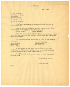 Thumbnail of Letter from W. E. B. Du Bois to World Peace Council