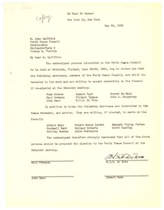 Thumbnail of Letter from W. E. B. Du Bois, Paul Robeson, John Darr, and Howard Fast to World Peace Council