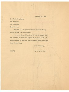 Thumbnail of Letter from W. E. B. Du Bois to Herbert Aptheker