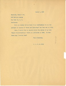 Thumbnail of Letter from W. E. B. Du Bois to Harcourt, Brace & Co.