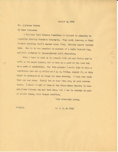 Thumbnail of Letter from W. E. B. Du Bois to Aphaeus Hunton