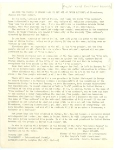 Thumbnail of Circular letter from People's World Constituent Assembly to W. E. B. Du Bois