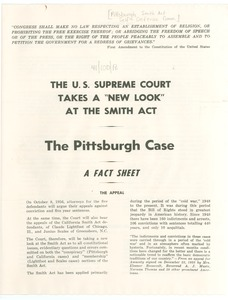 Thumbnail of The  U.S. Supreme Court takes a 'new look' at the Smith Act