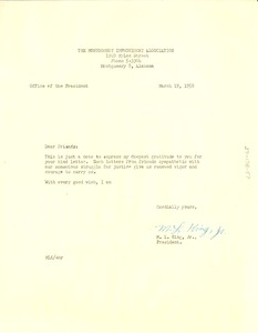 Thumbnail of Circular letter from Montgomery Improvement Association to W. E. B. Du Bois