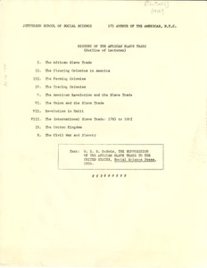 Thumbnail of 'History of the African Slave Trade' Fall 1956 syllabus