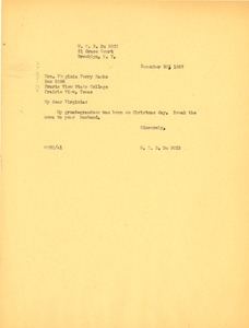 Thumbnail of Letter from W. E. B. Du Bois to Glovina Virginia Perry Banks