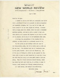 Thumbnail of Letter from New World Review to W. E. B. Du Bois