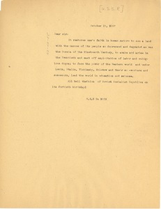 Thumbnail of Letter from W. E. B. Du Bois to U.S.S.R.