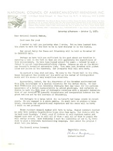 Thumbnail of Circular letter from National Council of American-Soviet Friendship to W. E. B. Du Bois
