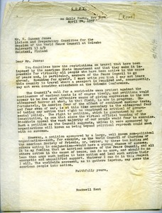 Thumbnail of Letter from Rockwell Kent to World Peace Council