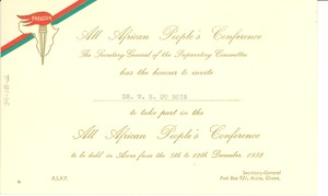Thumbnail of All African People's Conference invitation