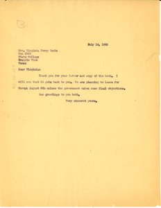 Thumbnail of Letter from W. E. B. Du Bois to Virginia Perry Banks