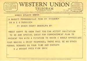Thumbnail of Telegram from Fisk University to W. E. B. Du Bois