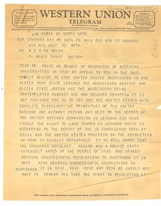 Thumbnail of Telegram from graduates of American universities in Iraq to W. E. B. Du Bois