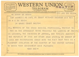 Thumbnail of Telegram from members of the Iraqi medical profession to W. E. B. Du Bois