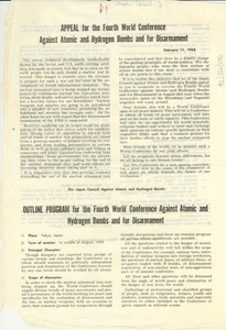 Thumbnail of Appeal for the Fourth World Conference Against Atomic and Hydrogen Bombs and             for Disarmament