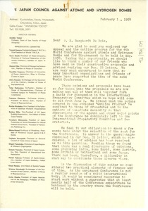 Thumbnail of Letter from Japan Council Against Atomic and Hydrogen Bombs to W. E. B. Du Bois