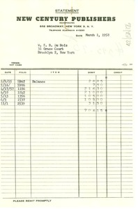Thumbnail of Invoice from New Century Publishers