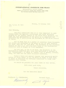 Thumbnail of Letter from International Institute for Peace to W. E. B. Du Bois