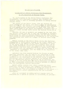 Thumbnail of Resolution of the Soviet public conference for disarmament on the cessation of             nuclear tests
