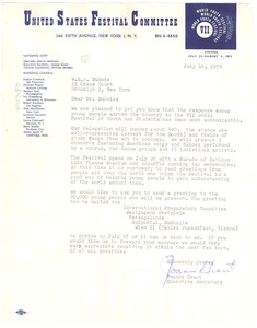 Thumbnail of Letter from United States Festival Committee to W. E. B. Du Bois