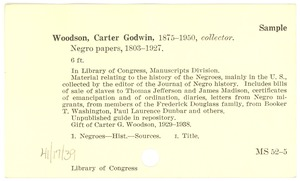 Thumbnail of Booker T. Washington papers catalog cards