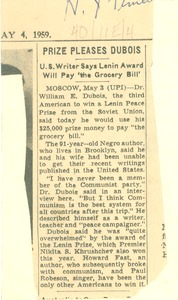 "Thumbnail of Prize pleases Du Bois U.S. writer says Lenin Award will pay ""the grocery bill"""