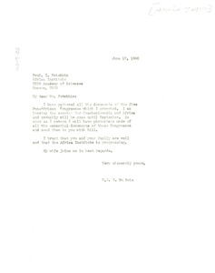 Thumbnail of Letter from W. E. B. Du Bois to Africa Institute