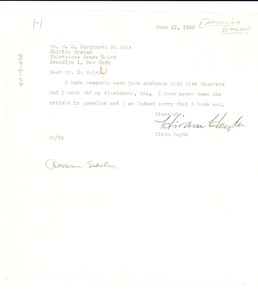Thumbnail of Letter from American Scholar to W. E. B. Du Bois and Shirley Graham