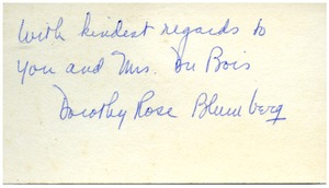 Thumbnail of Note from Dorothy Rose Blumberg to Dr. & Mrs. W. E. B. Du         Bois