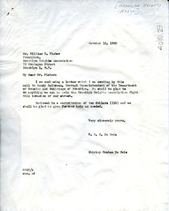 Thumbnail of Letter from Shirley Graham to Brooklyn Heights Association
