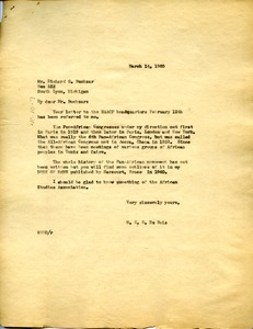 Thumbnail of Letter from W. E. B. Du Bois to Richard G. Bucksar