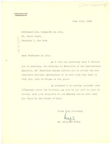 Thumbnail of Letter from Czech Embassy to W. E. B. Du Bois