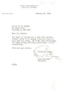 Thumbnail of Letter from Fisk University Library to W. E. B. Du Bois