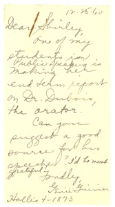 Thumbnail of Letter from Genii Guinier to Shirley Du Bois