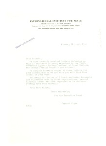 Thumbnail of Circular letter from International Institute for Peace to W. E. B. Du Bois