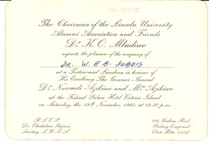 Thumbnail of Invitation from Lincoln University National Alumni Association to W. E. B. Du Bois