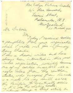 Thumbnail of Letter from Evelyn Patuawa-Knowles to W. E. B. Du Bois
