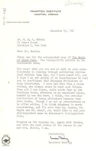 Letter from Saunders Redding to W. E. B. Du Bois