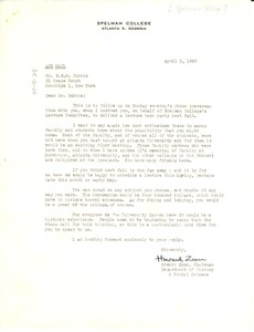 Thumbnail of Letter from Spelman College to W. E. B. Du Bois