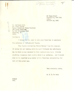 Thumbnail of Letter from W. E. B. Du Bois to Tagore Centenary Peace Festival
